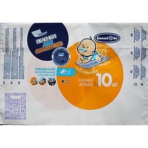 Многоклапанный пакет для упаковки гигиенических товаров, артикул ПФ 07